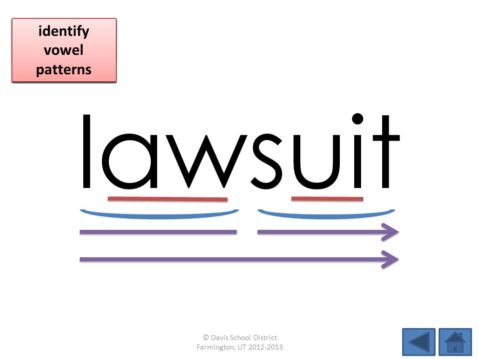 lawsuit identify vowel patterns blend individual syllables