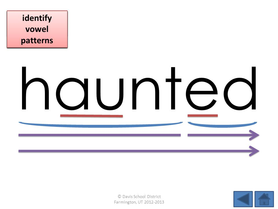 haunted identify vowel patterns blend individual syllables