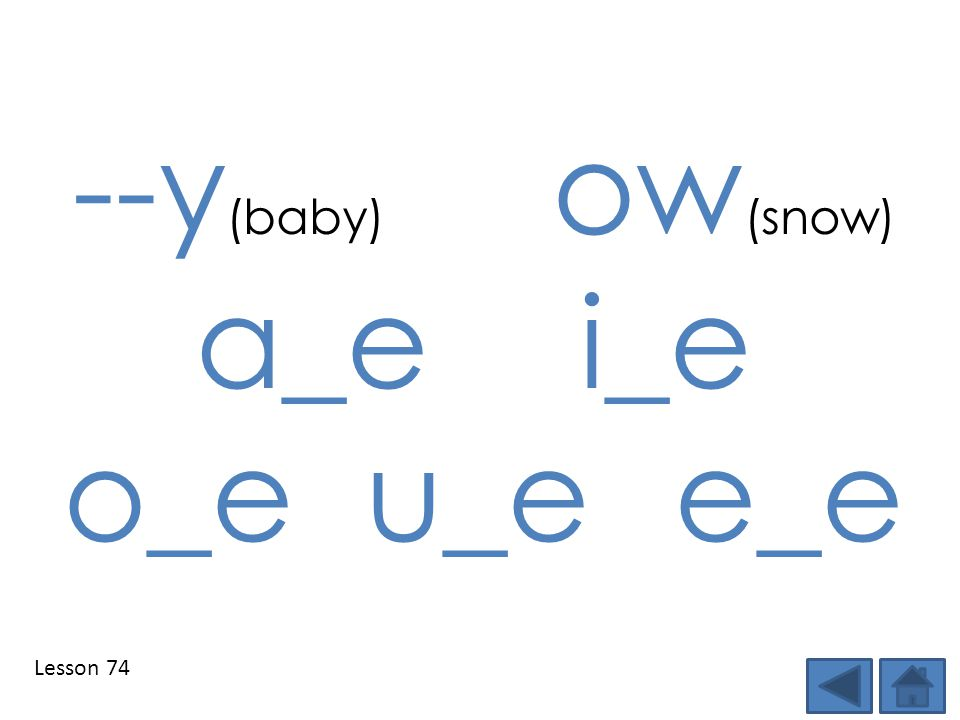 --y(baby) ow(snow) a_e i_e o_e u_e e_e Lesson 74 Step 1: