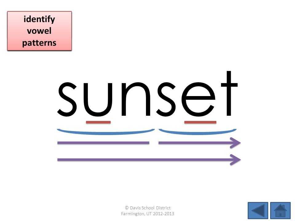 sunset identify vowel patterns blend individual syllables