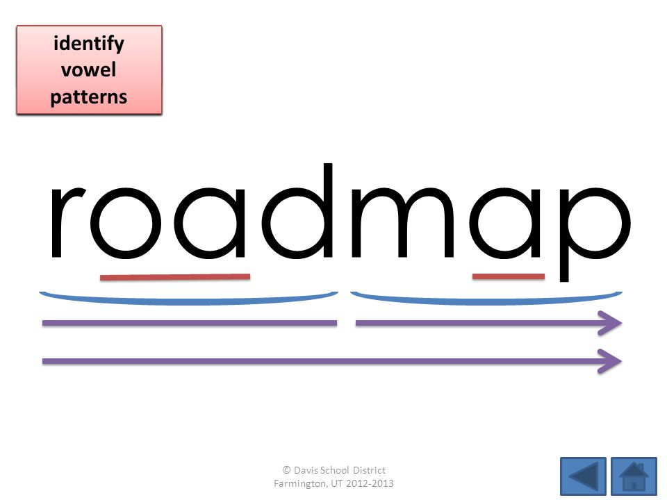 roadmap identify vowel patterns blend individual syllables