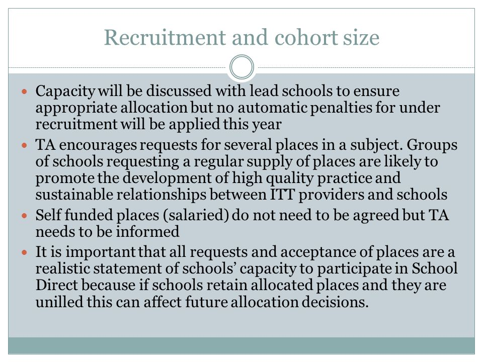 Recruitment and cohort size