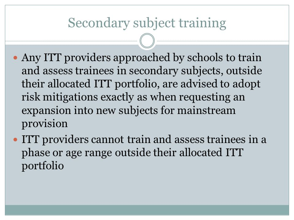 Secondary subject training