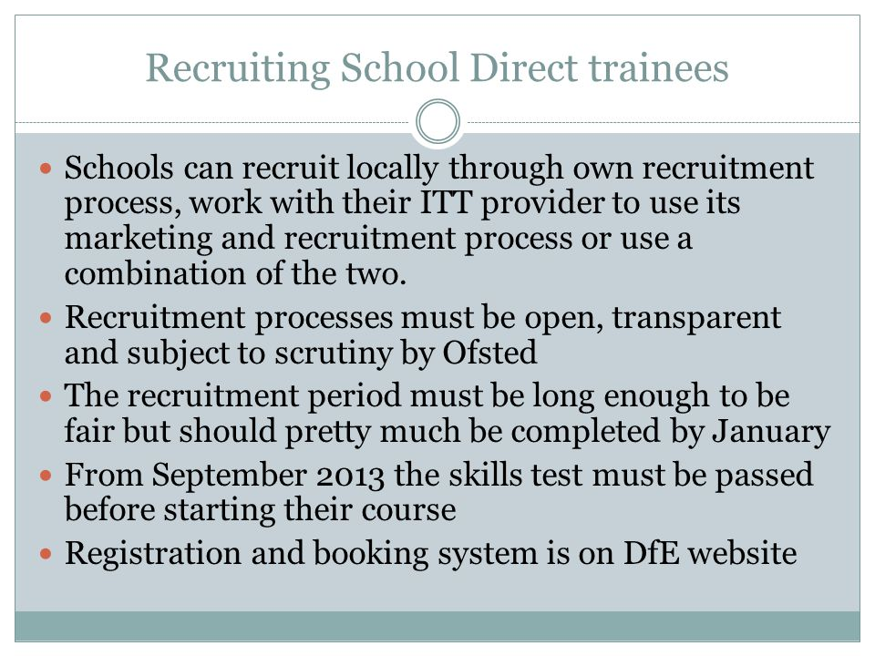 Recruiting School Direct trainees