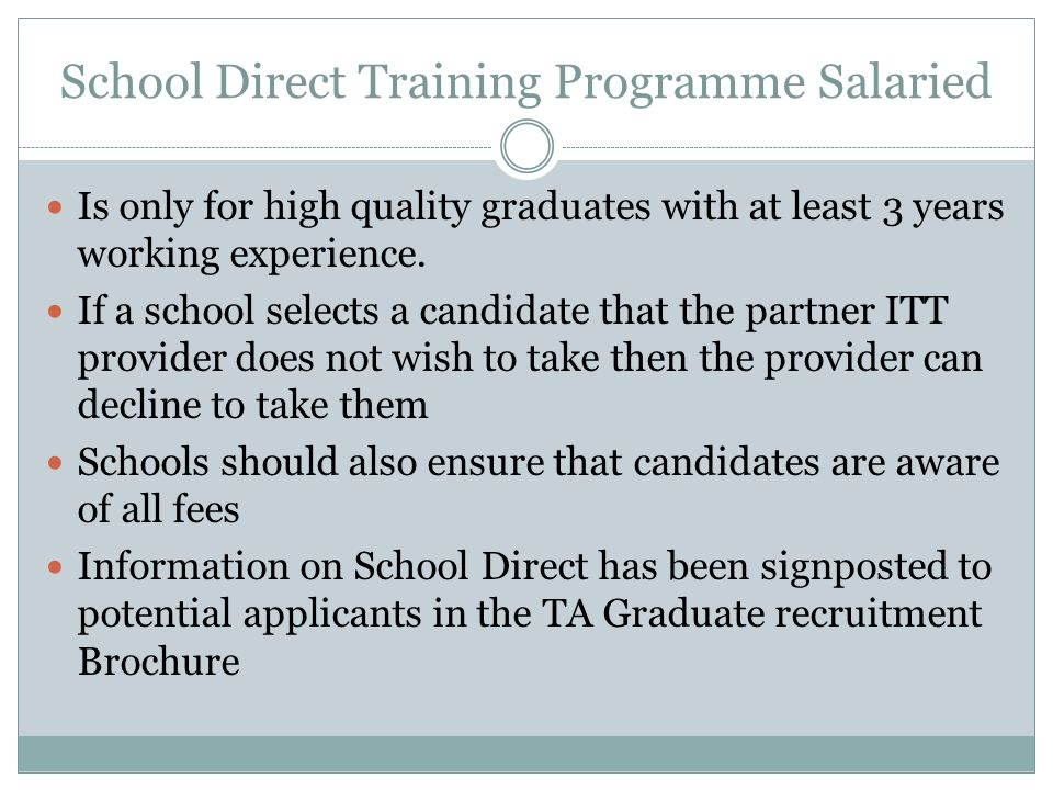 School Direct Training Programme Salaried