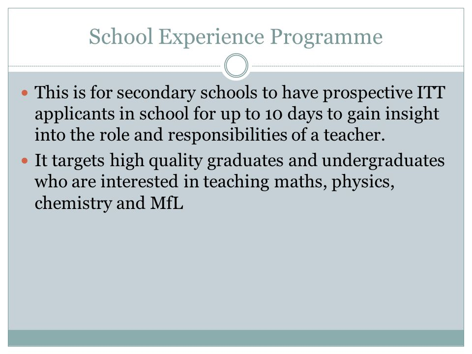 School Experience Programme
