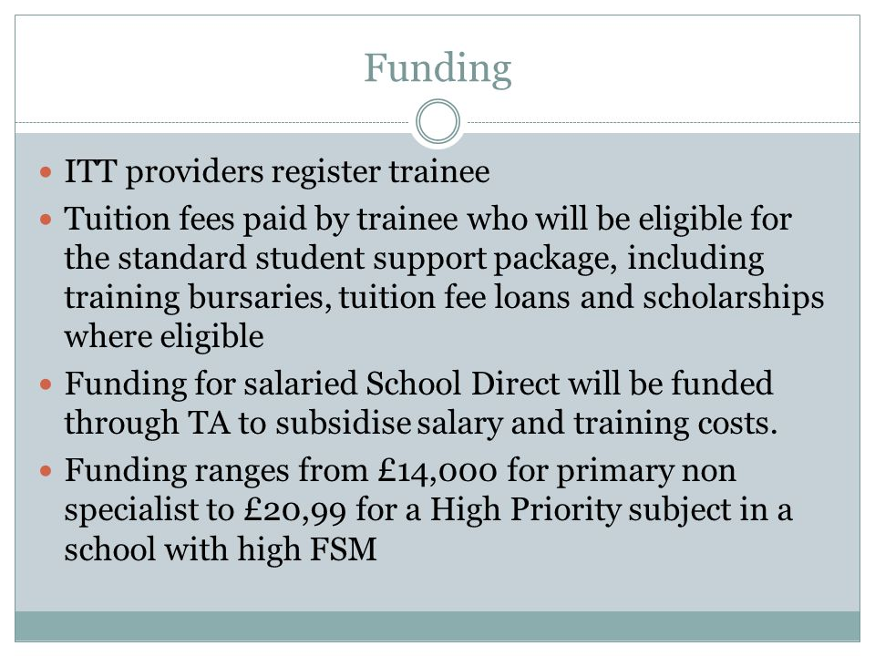 Funding ITT providers register trainee