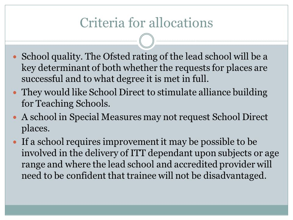 Criteria for allocations