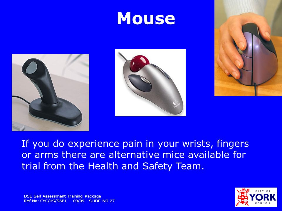 Mouse If you do experience pain in your wrists, fingers or arms there are alternative mice available for trial from the Health and Safety Team.