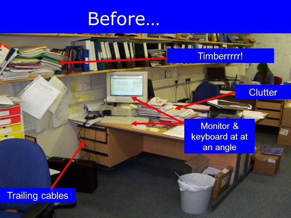 Monitor & keyboard at at an angle