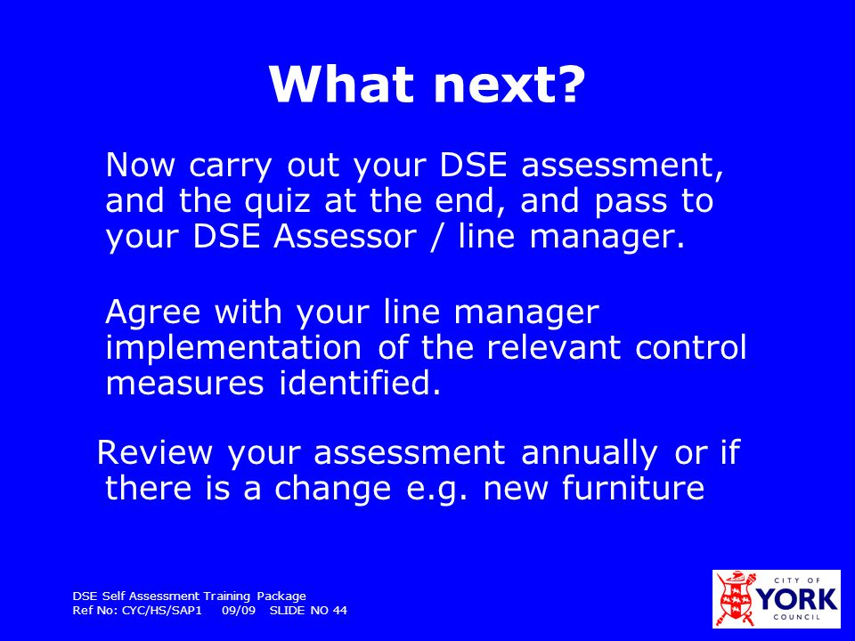 What next Now carry out your DSE assessment, and the quiz at the end, and pass to your DSE Assessor / line manager.