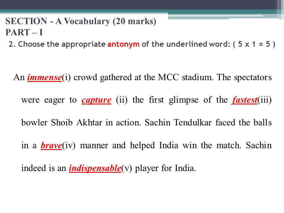 SECTION - A Vocabulary (20 marks) PART – I 2