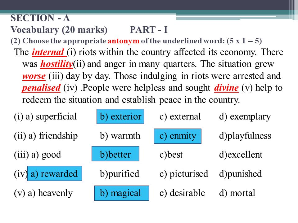 SECTION - A Vocabulary (20 marks)