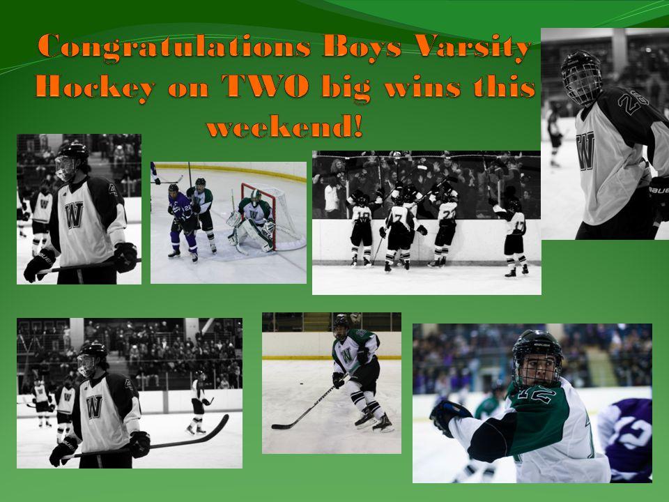 Congratulations Boys Varsity Hockey on TWO big wins this weekend!