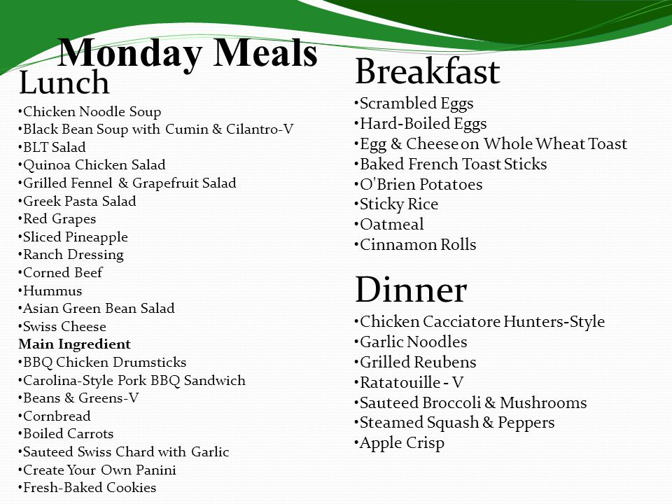 Monday Meals Breakfast Dinner Lunch •Scrambled Eggs •Hard-Boiled Eggs