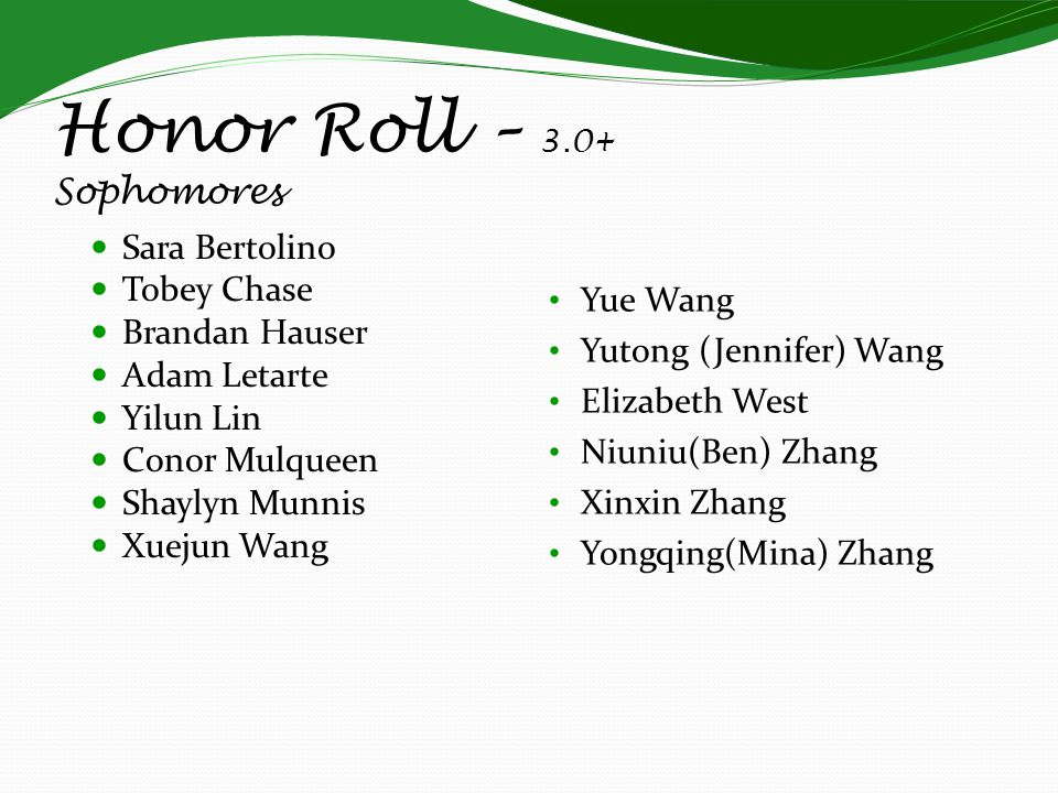 Honor Roll – 3.0+ Sophomores