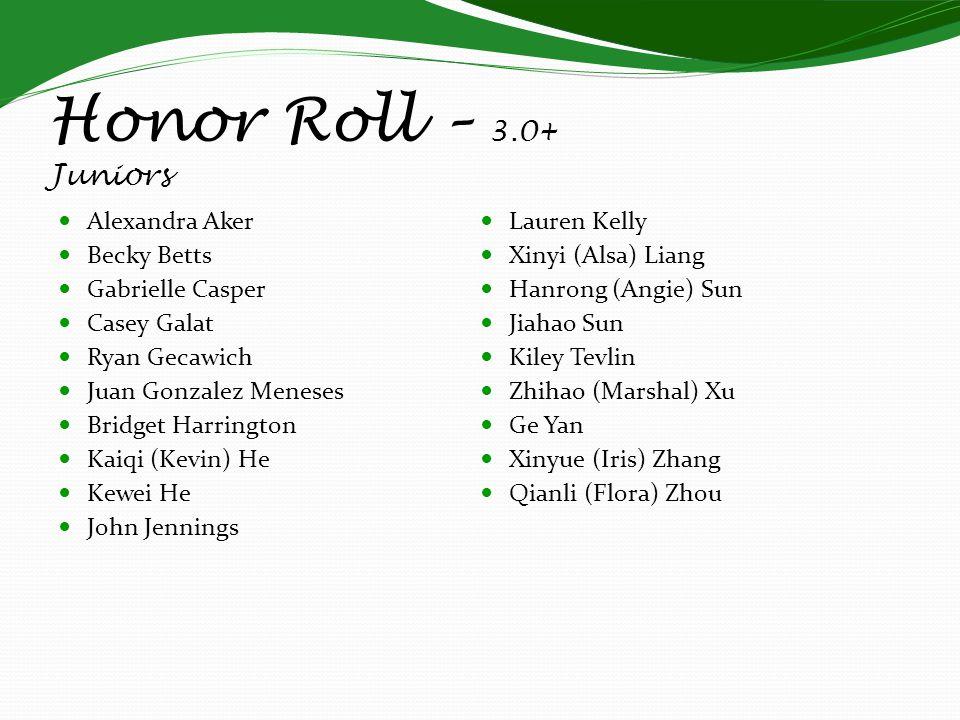 Honor Roll – 3.0+ Juniors Alexandra Aker Lauren Kelly Becky Betts
