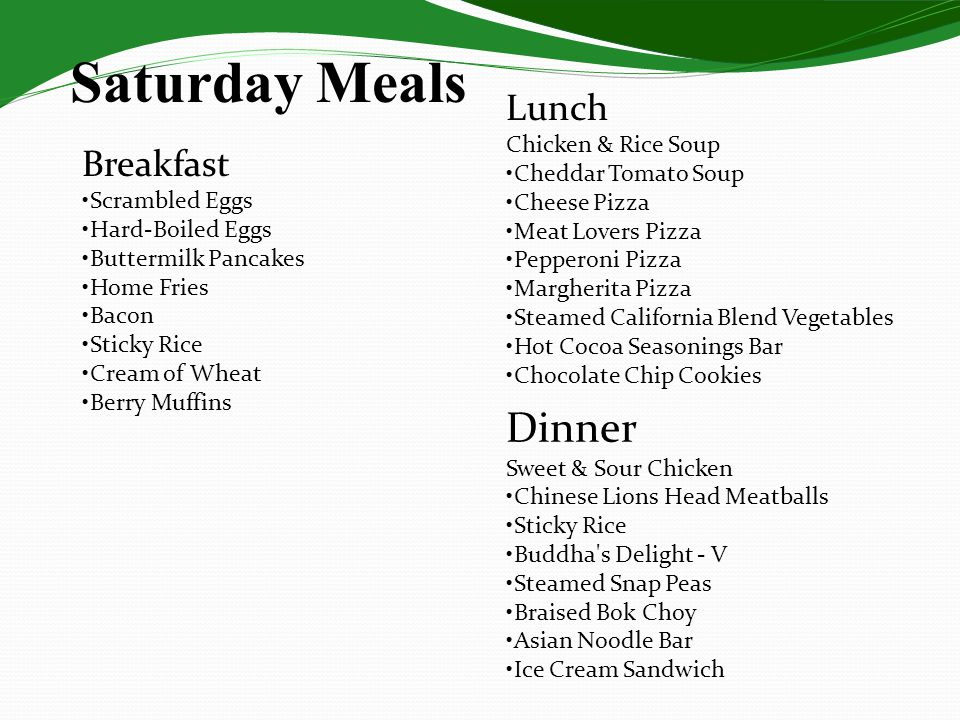 Saturday Meals Dinner Lunch Breakfast Chicken & Rice Soup