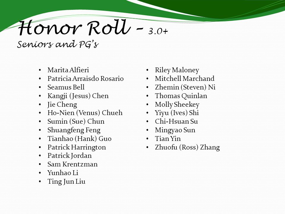 Honor Roll – 3.0+ Seniors and PG's