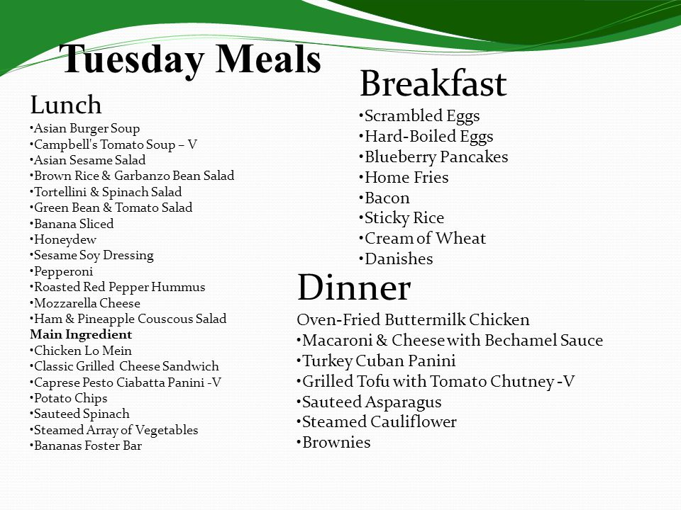 Tuesday Meals Breakfast Dinner Lunch •Scrambled Eggs •Hard-Boiled Eggs