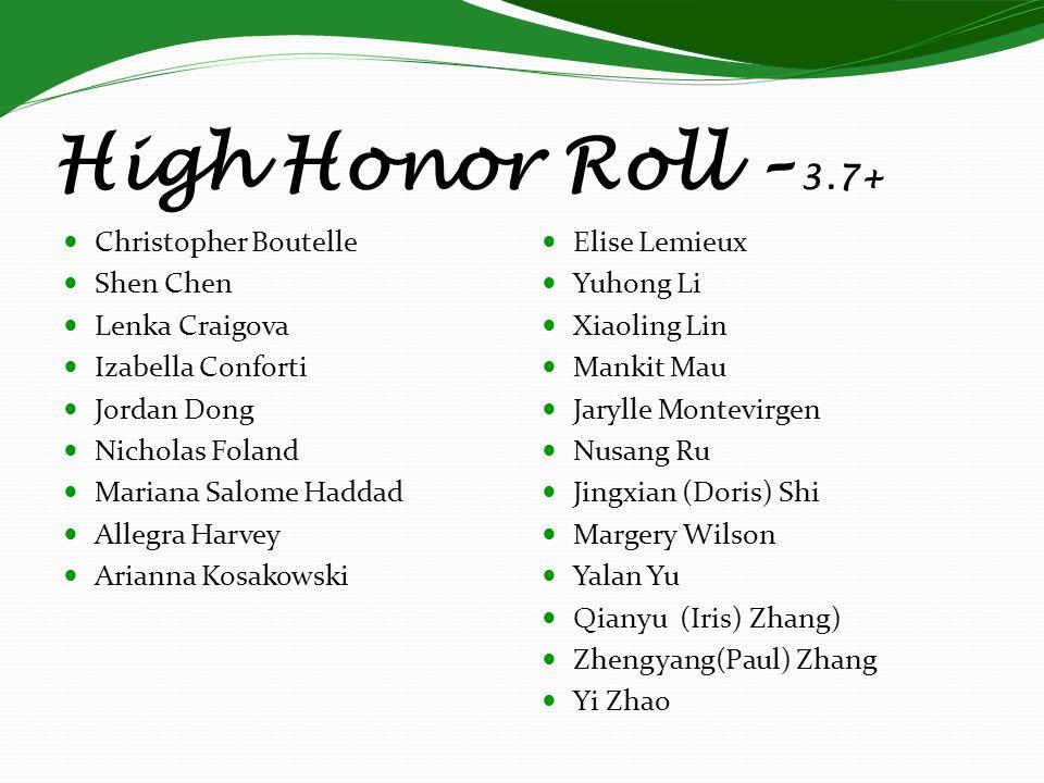 High Honor Roll – 3.7+ Christopher Boutelle Shen Chen Lenka Craigova
