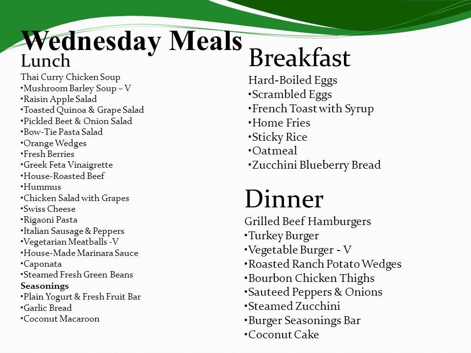 Wednesday Meals Breakfast Dinner Lunch Hard-Boiled Eggs