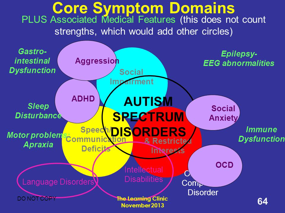 Core Symptom Domains PLUS Associated Medical Features (this does not count strengths, which would add other circles)