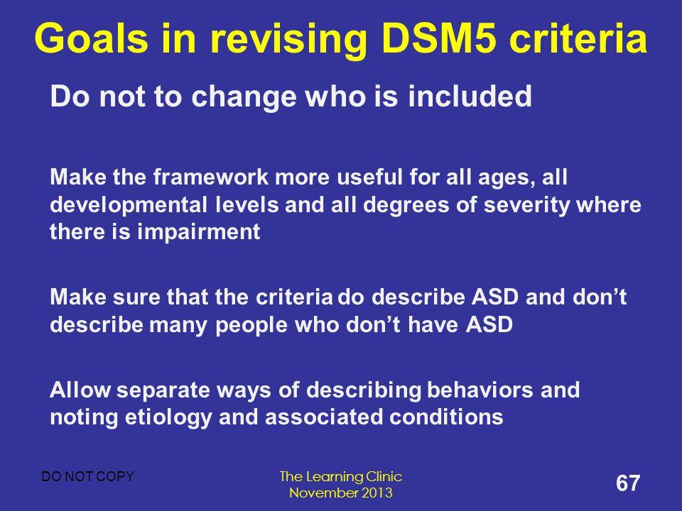 Goals in revising DSM5 criteria