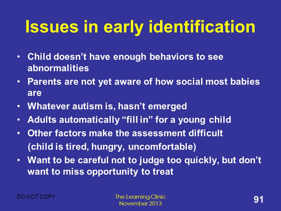 Issues in early identification