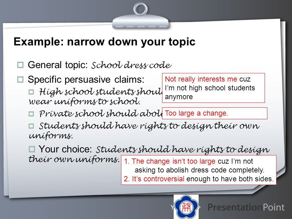 Example: narrow down your topic