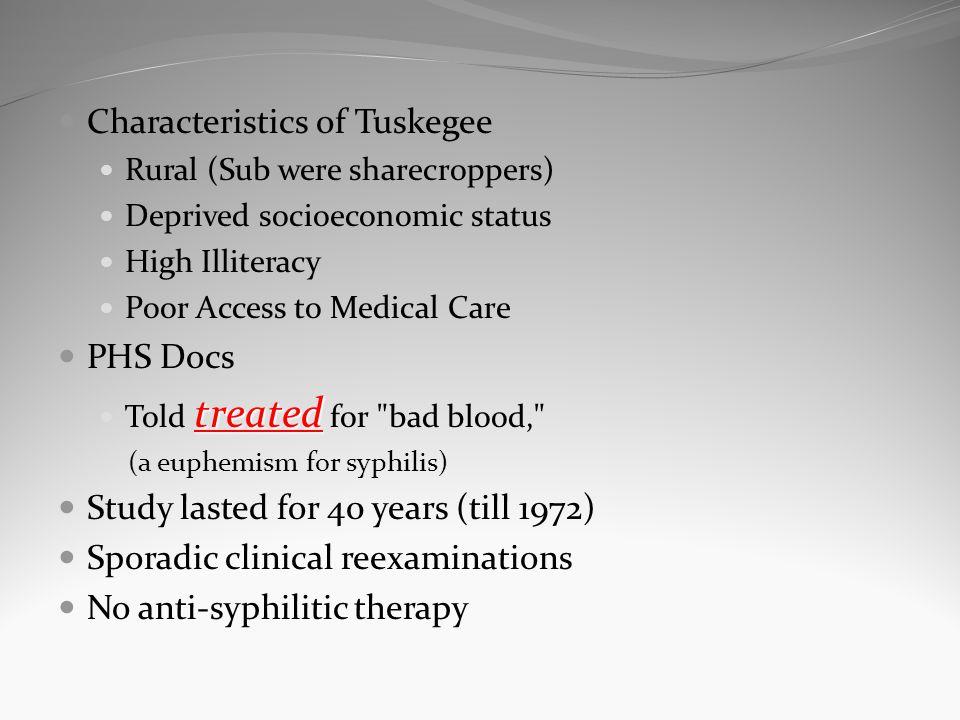Characteristics of Tuskegee