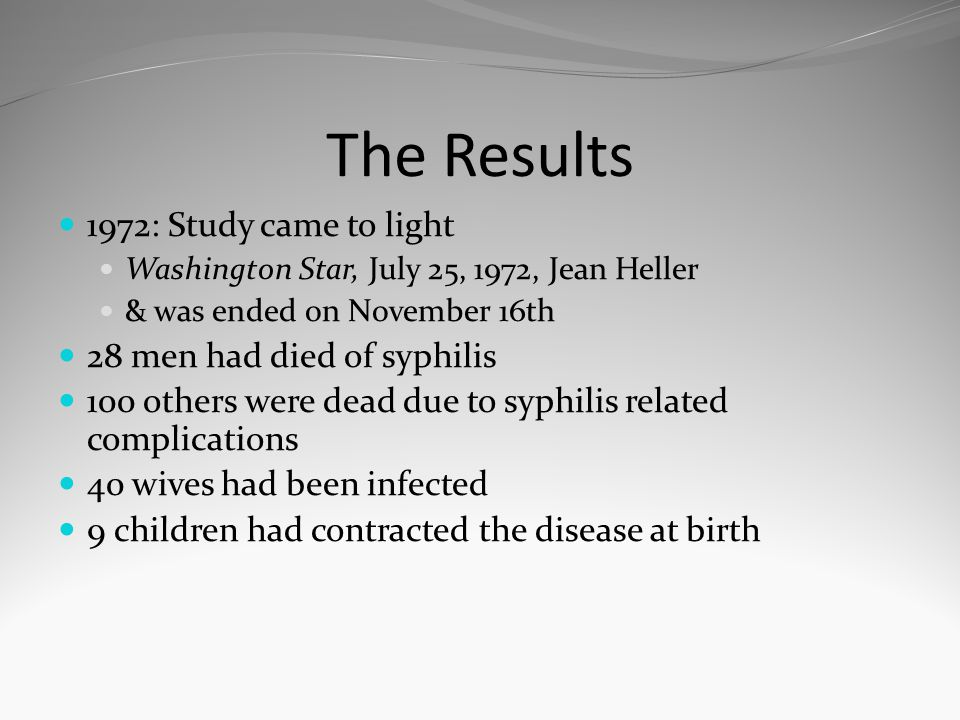 The Results 1972: Study came to light 28 men had died of syphilis