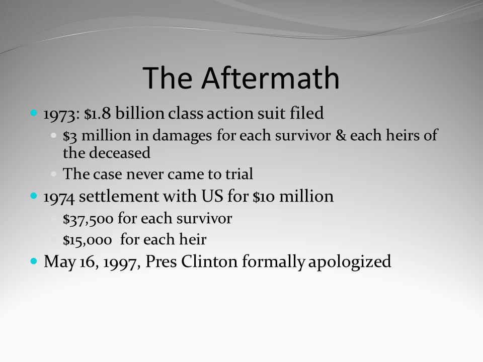 The Aftermath 1973: $1.8 billion class action suit filed