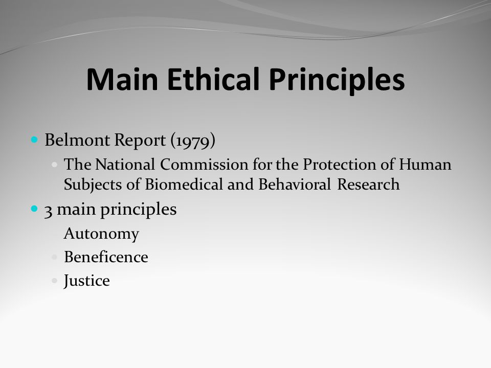 Main Ethical Principles