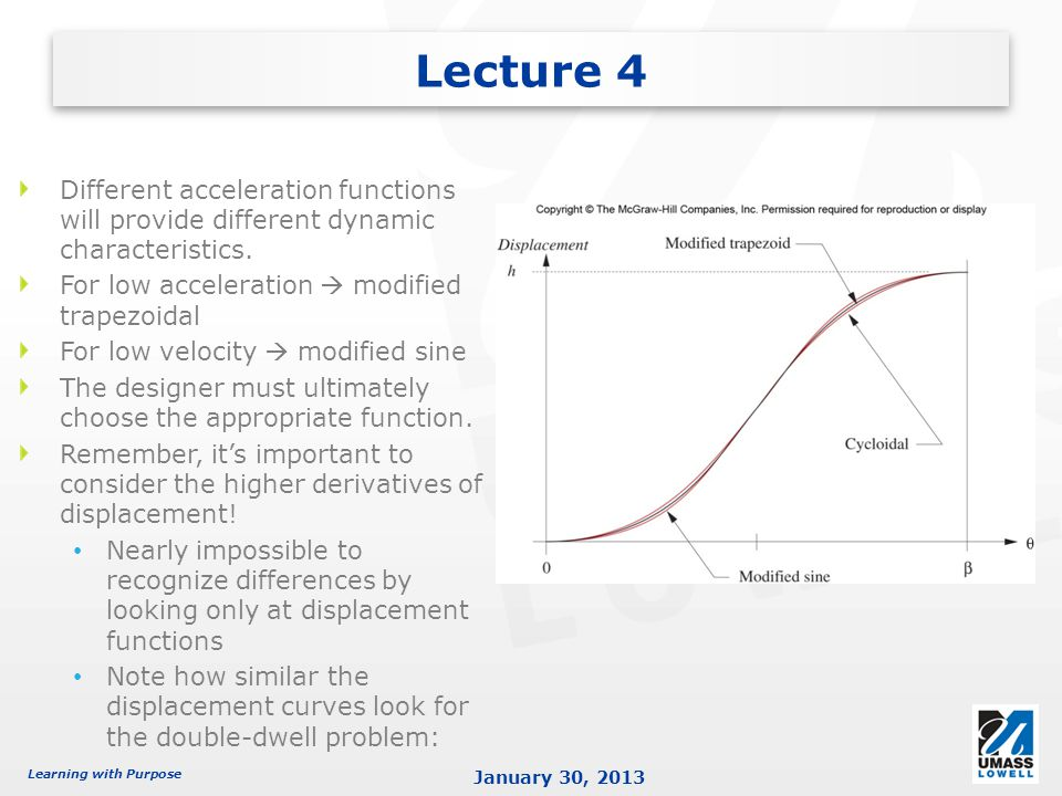 Lecture 4 Different acceleration functions will provide different dynamic characteristics. For low acceleration  modified trapezoidal.