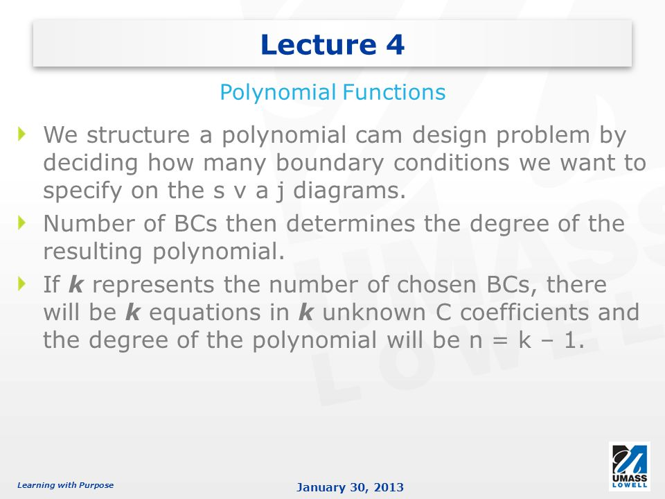 Lecture 4 Polynomial Functions.