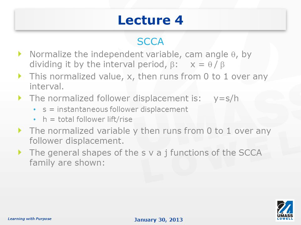 Lecture 4 SCCA. Normalize the independent variable, cam angle q, by dividing it by the interval period, b: x = q / b.