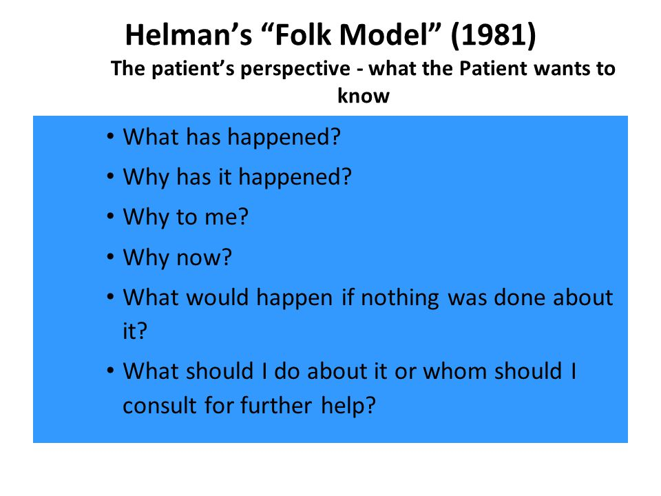 Helman's Folk Model (1981) The patient's perspective - what the Patient wants to know