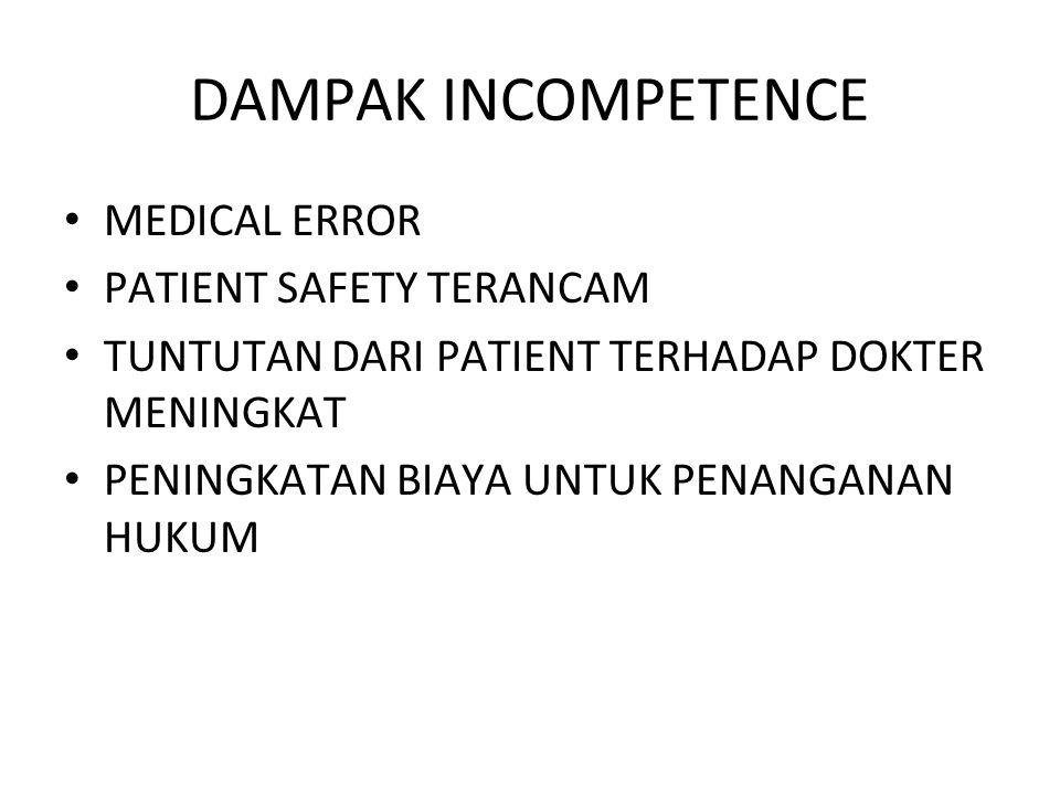 DAMPAK INCOMPETENCE MEDICAL ERROR PATIENT SAFETY TERANCAM