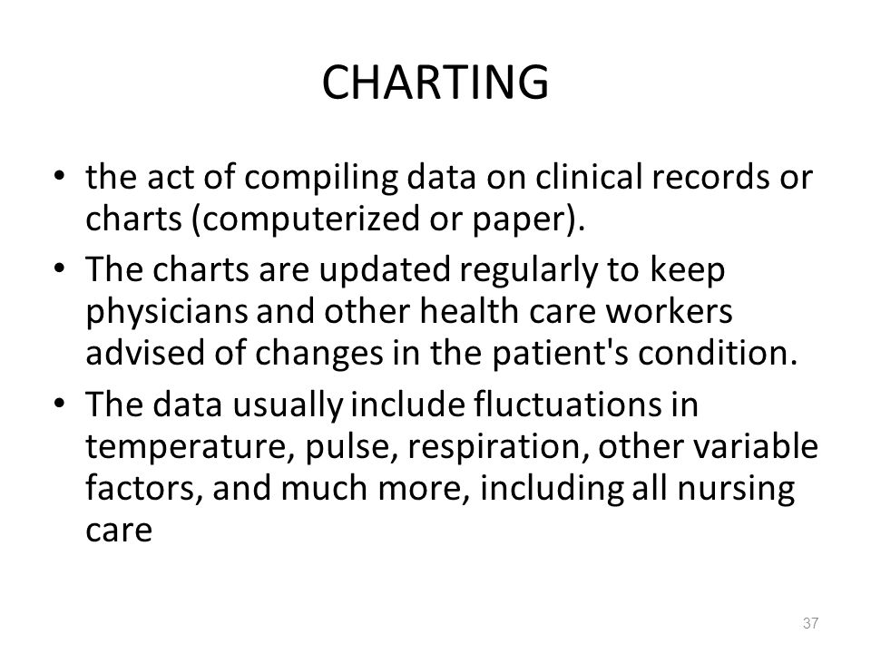 CHARTING the act of compiling data on clinical records or charts (computerized or paper).