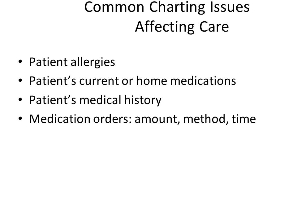 Common Charting Issues Affecting Care