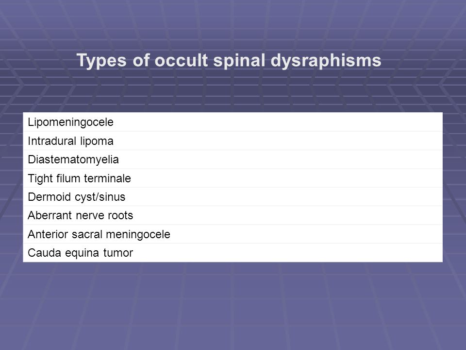 Types of occult spinal dysraphisms