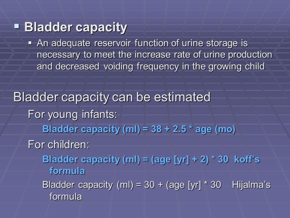 Bladder capacity can be estimated