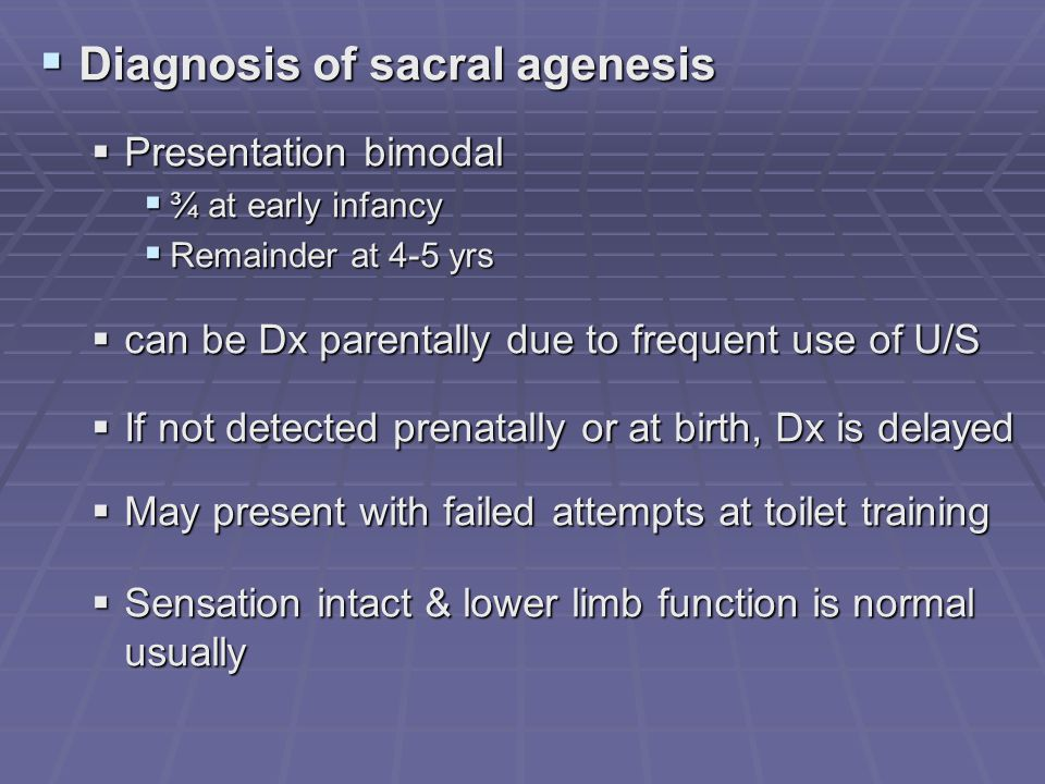 Diagnosis of sacral agenesis