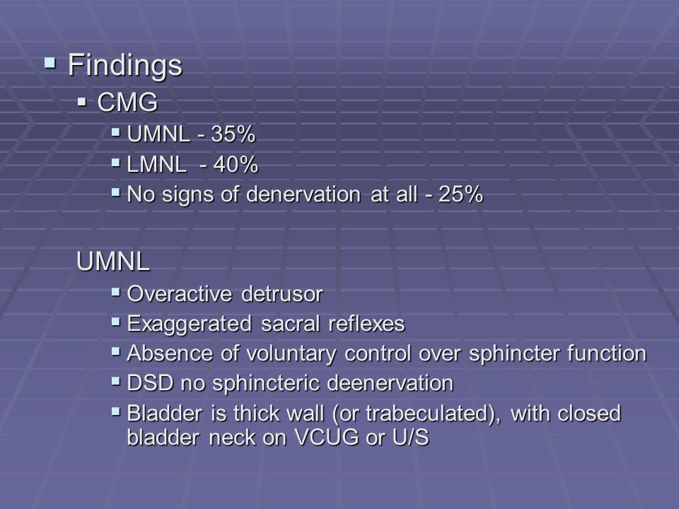 Findings CMG UMNL UMNL - 35% LMNL - 40%