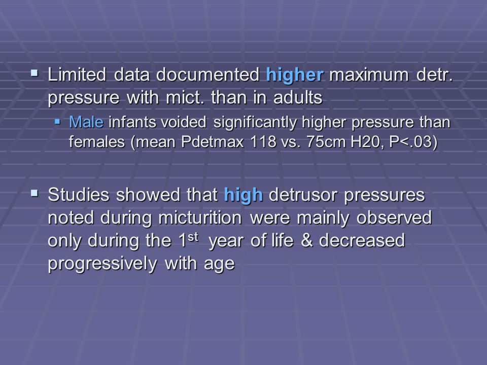 Limited data documented higher maximum detr. pressure with mict