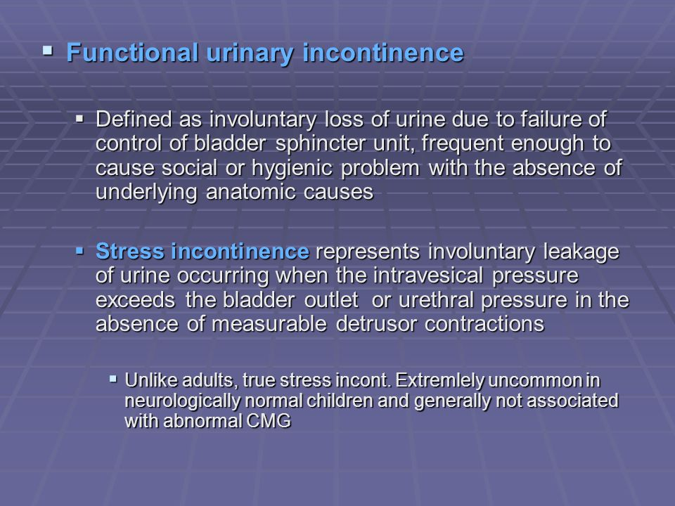 Functional urinary incontinence