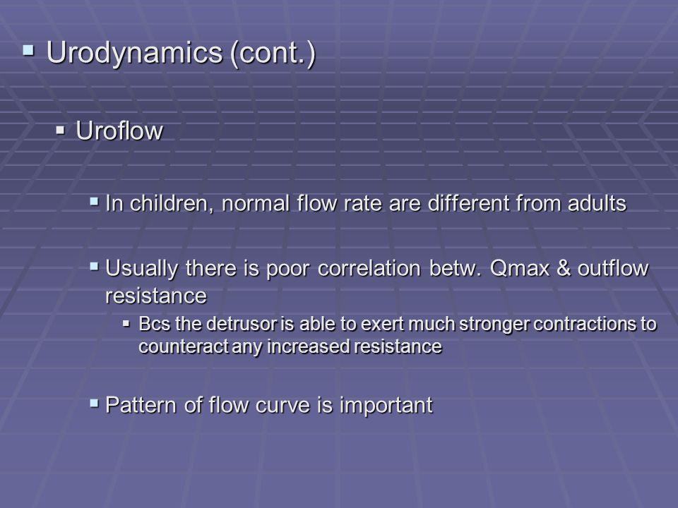Urodynamics (cont.) Uroflow