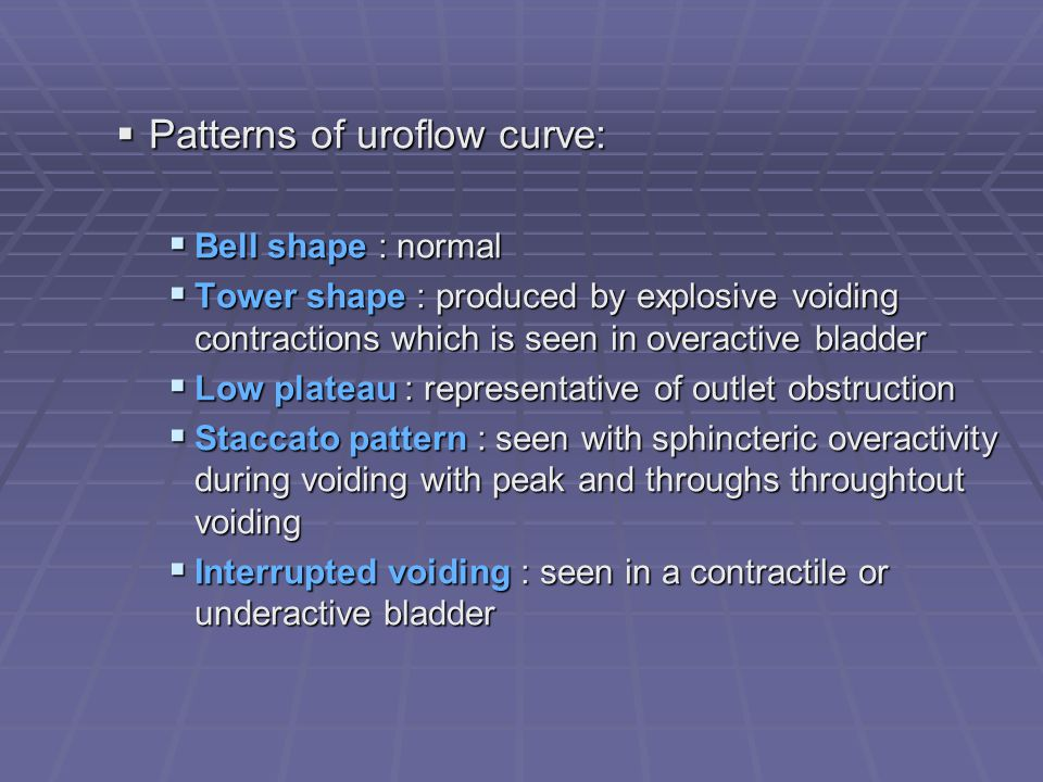 Patterns of uroflow curve: