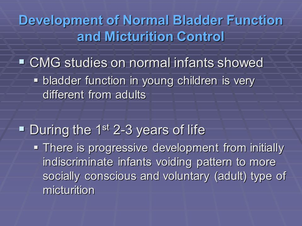 Development of Normal Bladder Function and Micturition Control